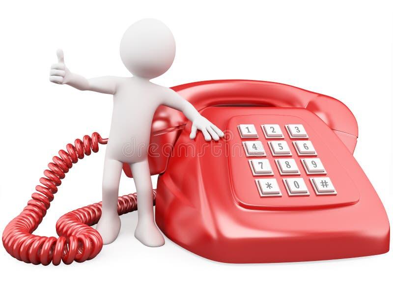 3D mens met een reusachtige rode telefoon