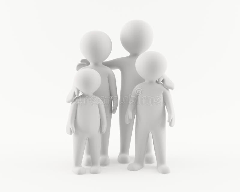 3D mens met familie stock illustratie