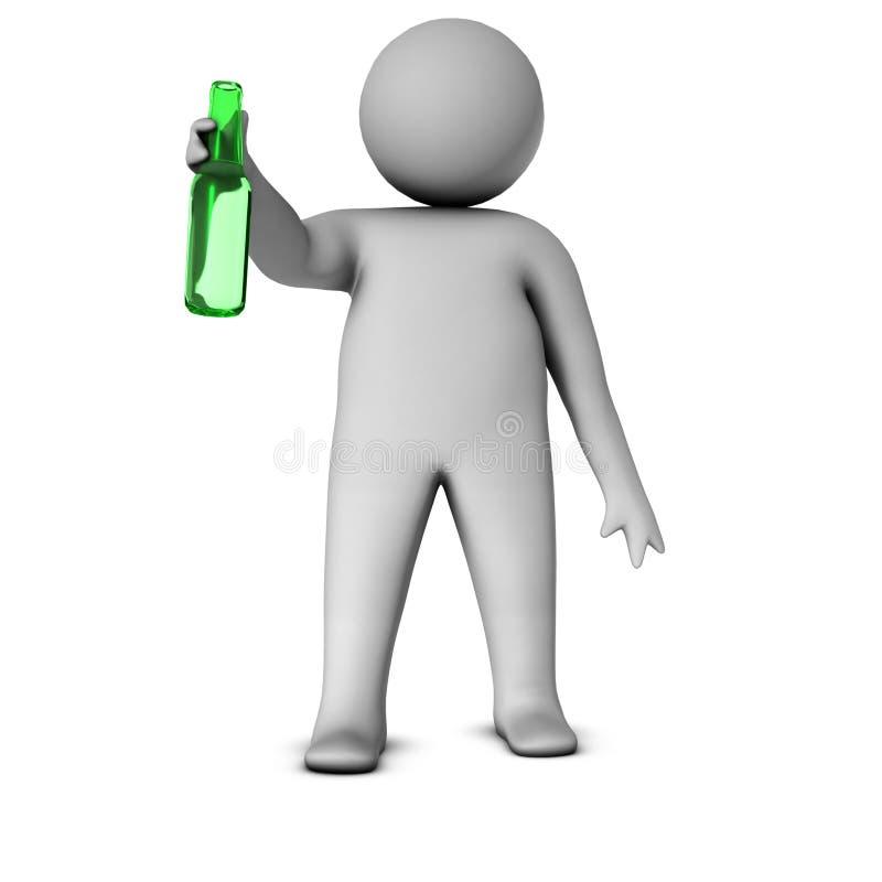 3d mens met fles royalty-vrije illustratie