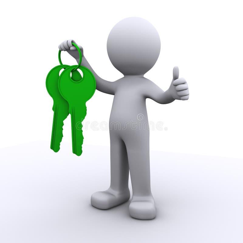 3d mens met in hand sleutels vector illustratie