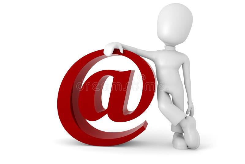 3d mens met het e-mailsymbool stock illustratie