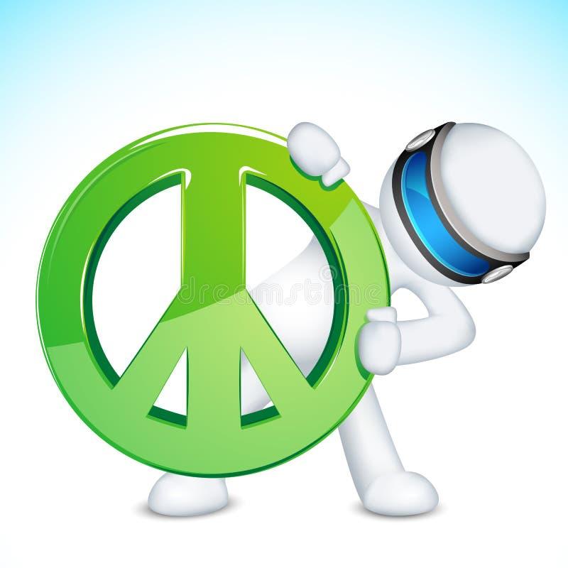 3d Mens met het Teken van de Vrede stock illustratie