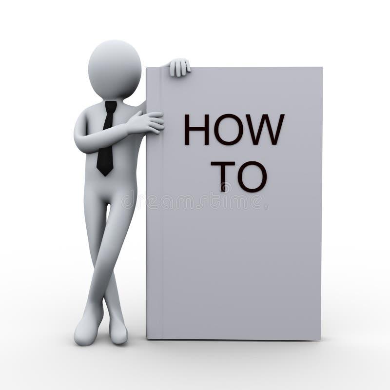 3d mens met hoe te te boeken vector illustratie