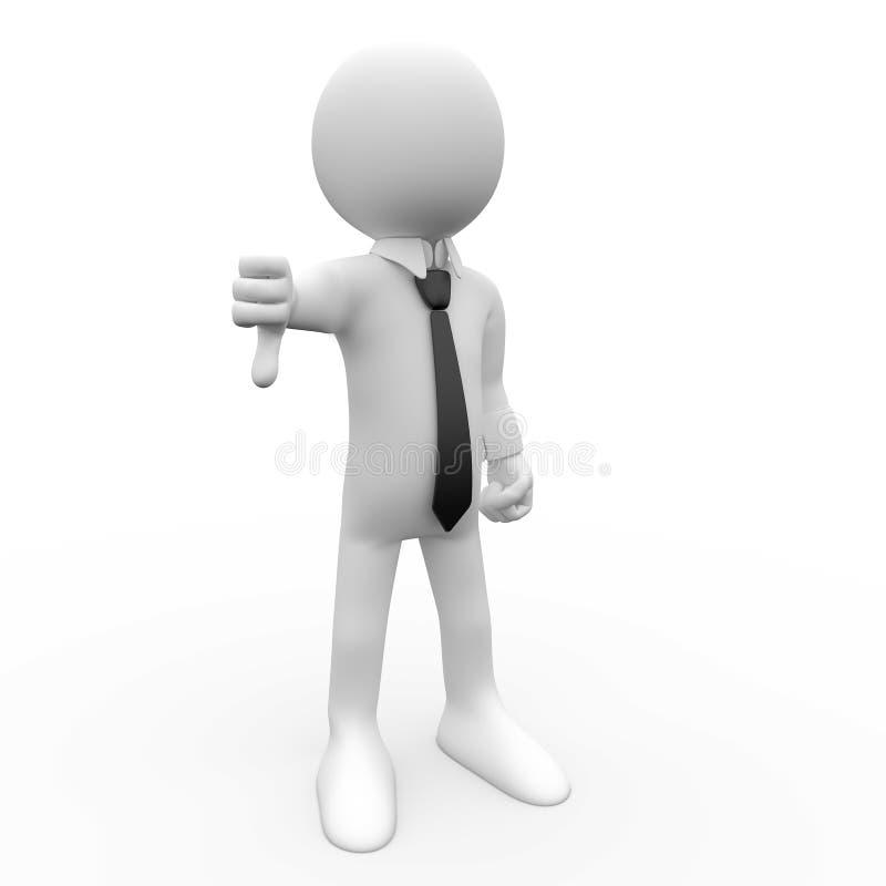 3D mens met neer duim royalty-vrije illustratie