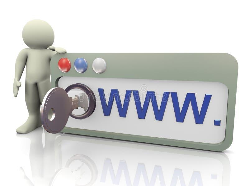 3d mens met veilige browser stock illustratie