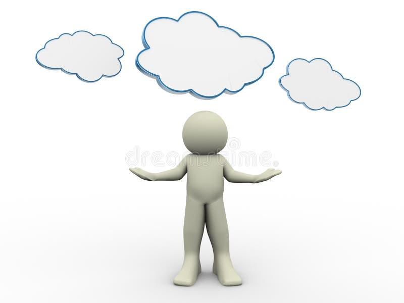 3d mens met wolk royalty-vrije illustratie