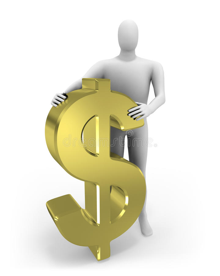 3d mens omhelst dollarteken royalty-vrije illustratie
