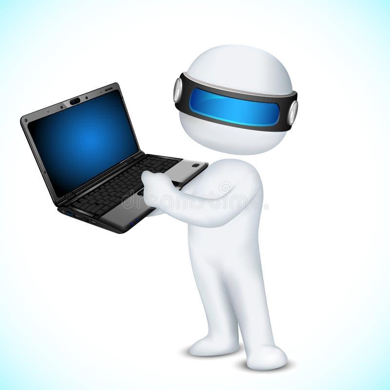 3d Mens in Vector met Laptop royalty-vrije illustratie