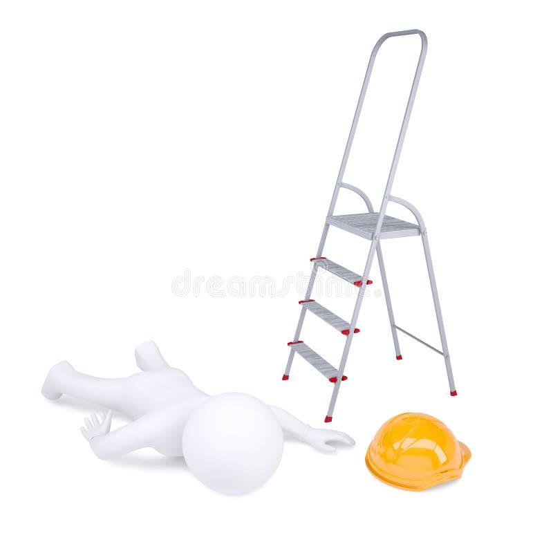 3d mens viel van de ladder stock illustratie