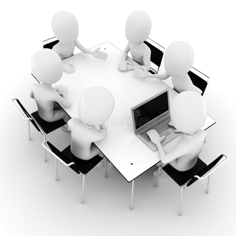 3d mens, zaken die op wit worden vergadering-geïsoleerdi stock illustratie