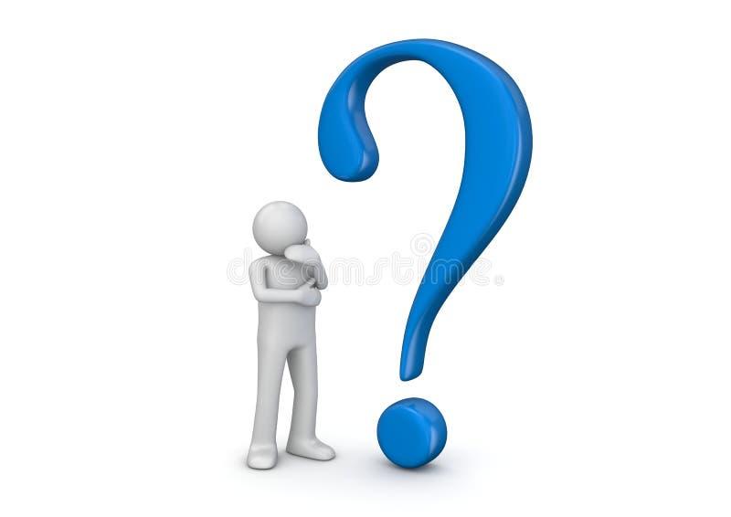 3d menschliches und blaues Fragezeichen lizenzfreie abbildung