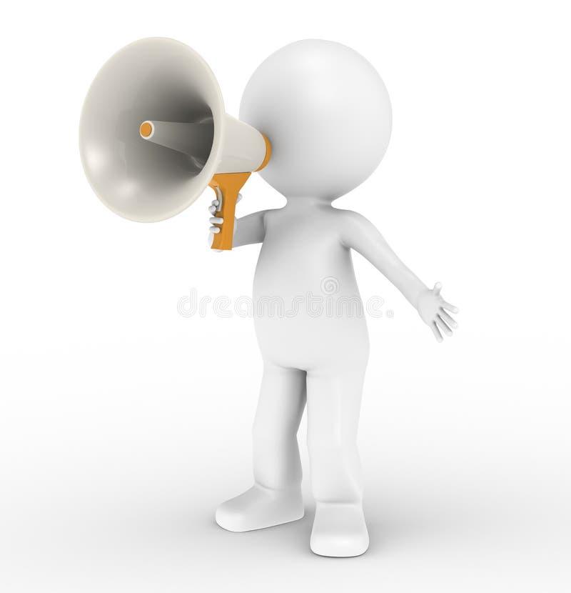 3d menselijk karakter met megafoon vector illustratie