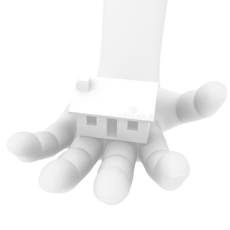 3D menselijke hand met een huis stock afbeeldingen