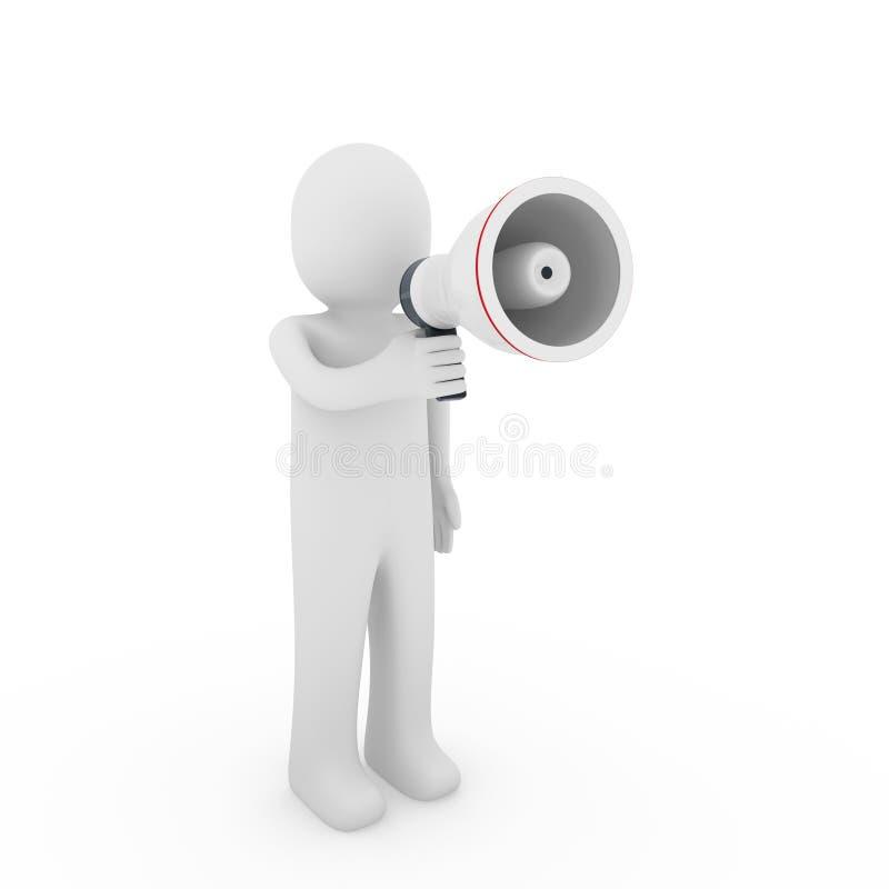 3d menselijke megafoon stock illustratie