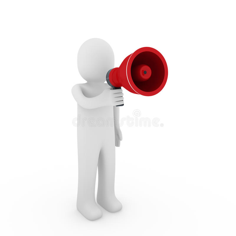 3d menselijke megafoon vector illustratie