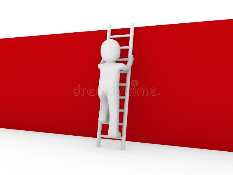 3d menselijke rood van de laddermuur royalty-vrije illustratie