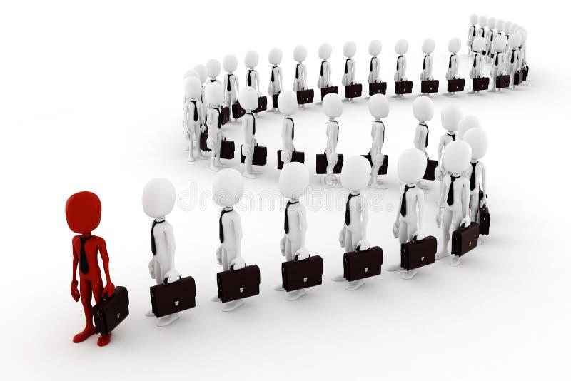3d mensen bedrijfsmensen na de leider stock illustratie