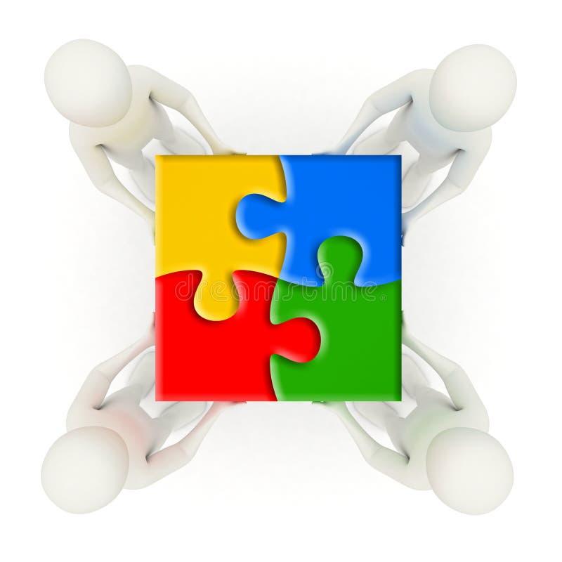 3d mensen die geassembleerde puzzelstukken houden stock illustratie