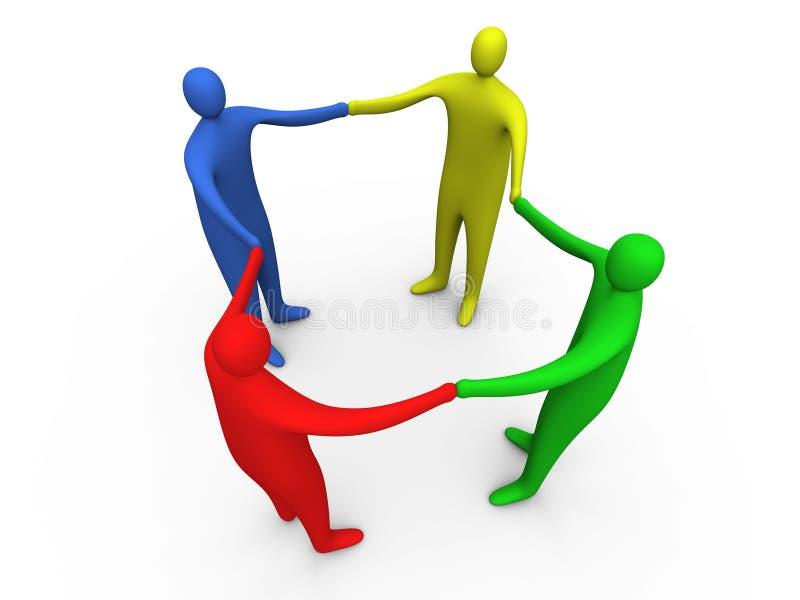 3d mensen die handen #1 houden vector illustratie