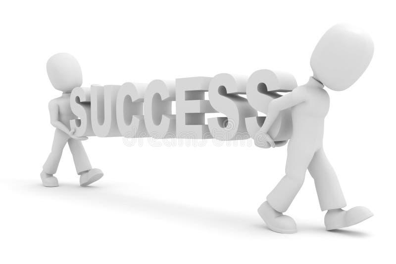 3d mensen, die het succes dragen vector illustratie