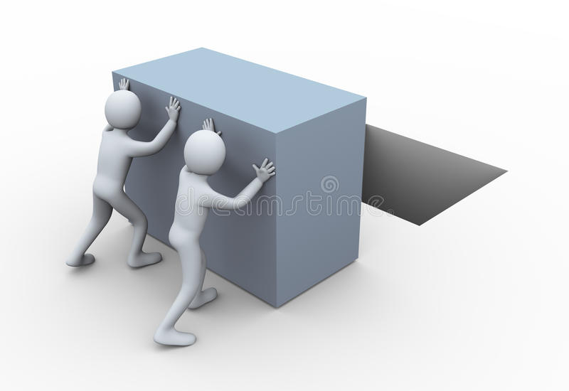 3d mensen die kubus duwen. vector illustratie