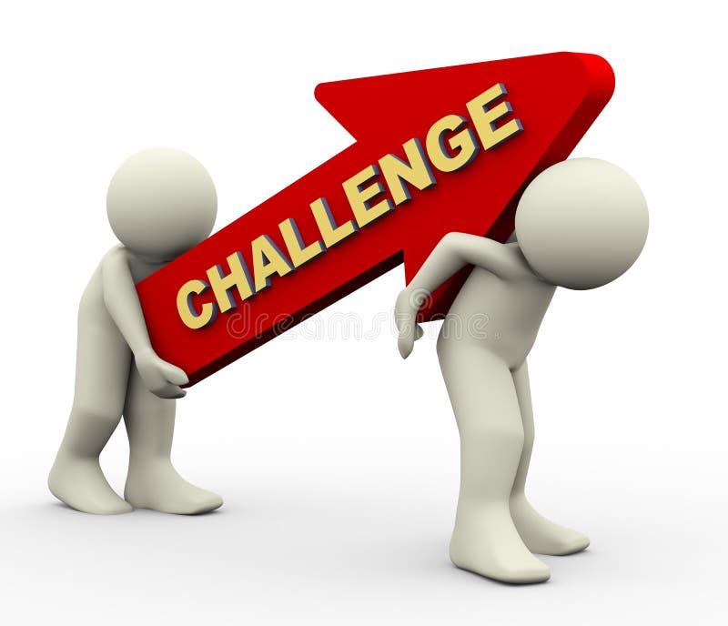 3d mensen die uitdagingspijl dragen stock illustratie