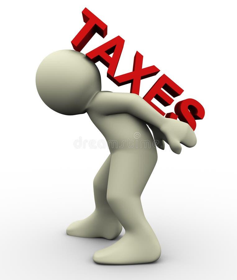 3d mensen dragende belastingen royalty-vrije illustratie