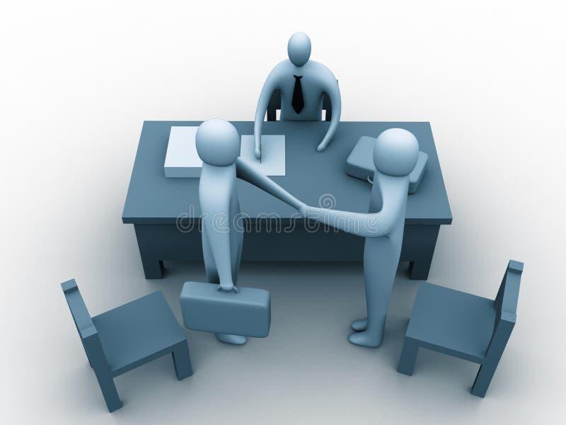 3d mensen in een bureau royalty-vrije illustratie