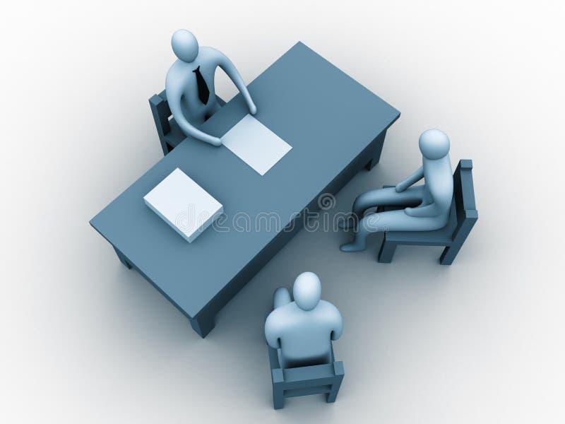3d mensen in een bureau stock illustratie