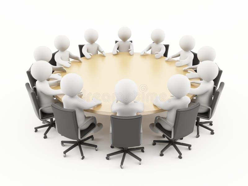 3D mensen in een commerciële vergadering royalty-vrije illustratie