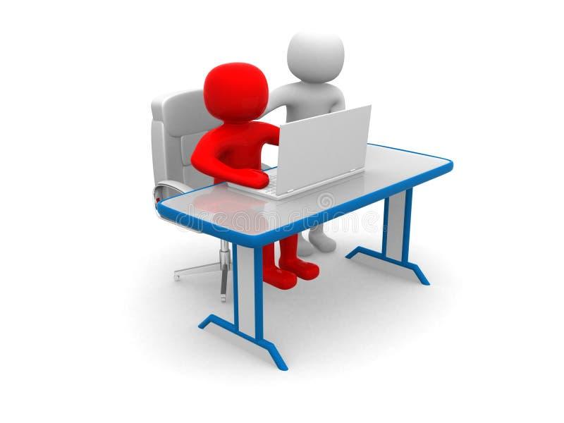 3d mensen en laptop op een kantoor. Partners vector illustratie
