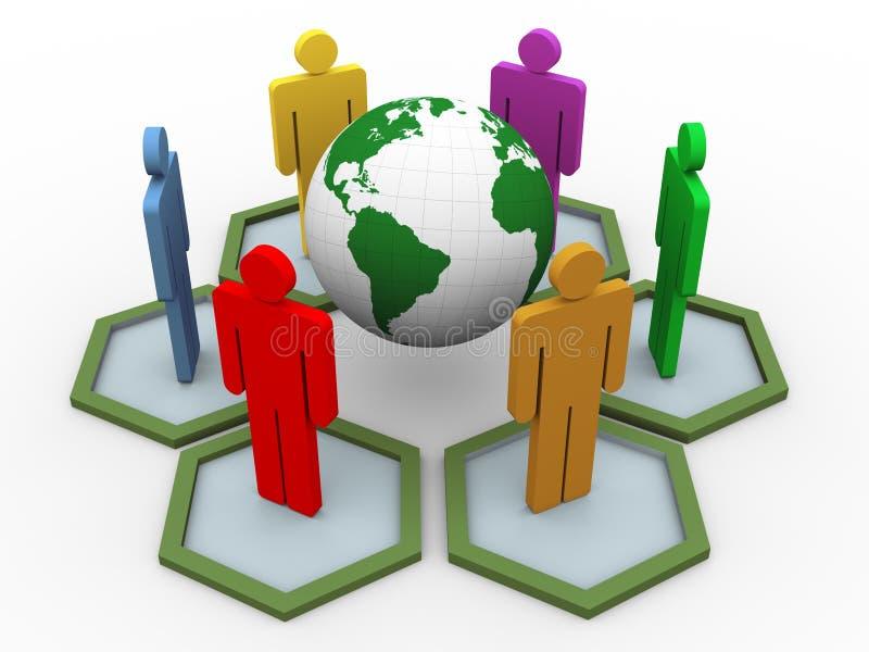 3d mensen globale mededeling royalty-vrije illustratie