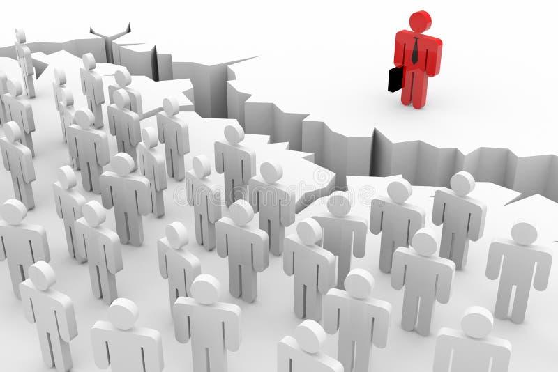 3d mensen, leider en gebarsten aarde. Ongelijkheid. stock illustratie