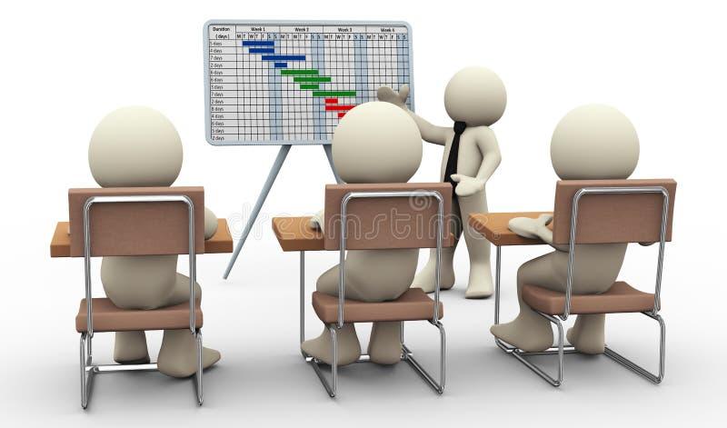 3d mensengantt grafiekpresentatie stock illustratie