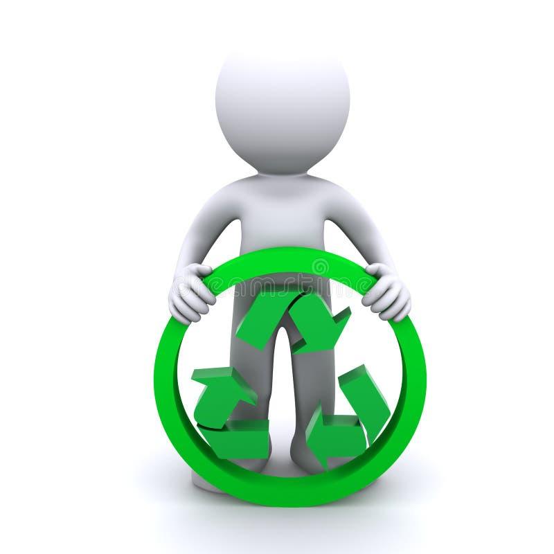 3D mensengreep recyclingssymbool vector illustratie