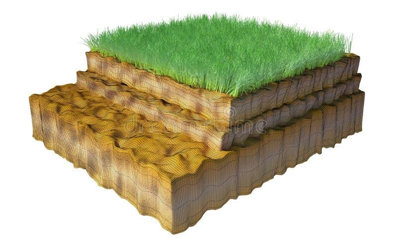 3d mergulhou a grama do solo isolada no fundo branco ilustração royalty free