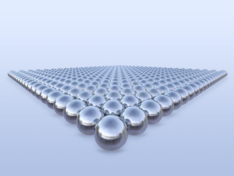 3d metaalballen in geometrisch patroon vector illustratie