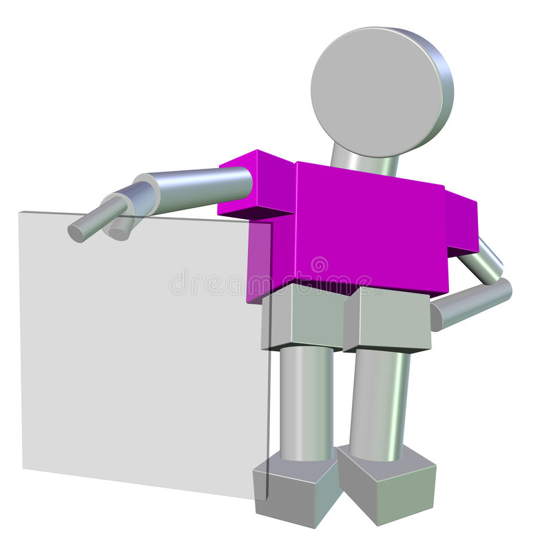 3D of a Metallic Humanoid holding a Blank Glass royalty free illustration