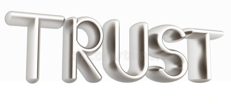 3d metalu teksta zaufanie ilustracja wektor