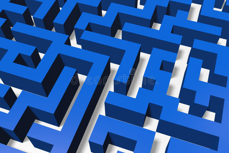 3D metaphors, maze, labirynth, solution, problem, obstacle, solving royalty free stock photography