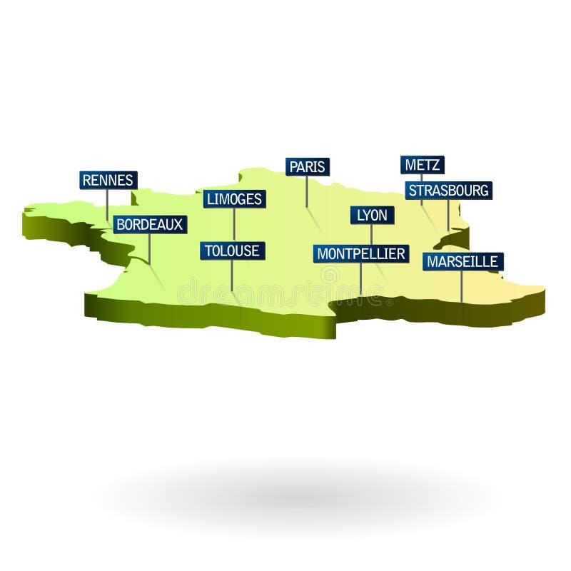 Download 3d miast France mapa ilustracja wektor. Ilustracja złożonej z markdown - 13329345