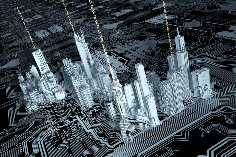 3D miasto na chip komputerowy ilustracji