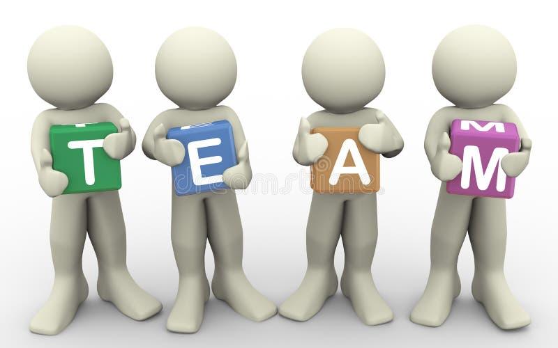 3d mienia ludzie drużyny słowa ilustracji