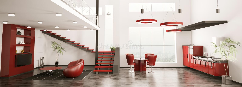 3d mieszkanie panorama wewnętrzna nowożytna odpłaca się ilustracji