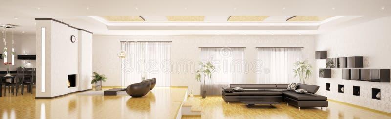 3d mieszkanie panorama wewnętrzna nowożytna odpłaca się ilustracja wektor