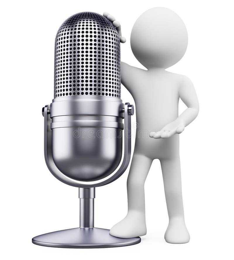 3d mikrofonu ludzie rocznika biel royalty ilustracja