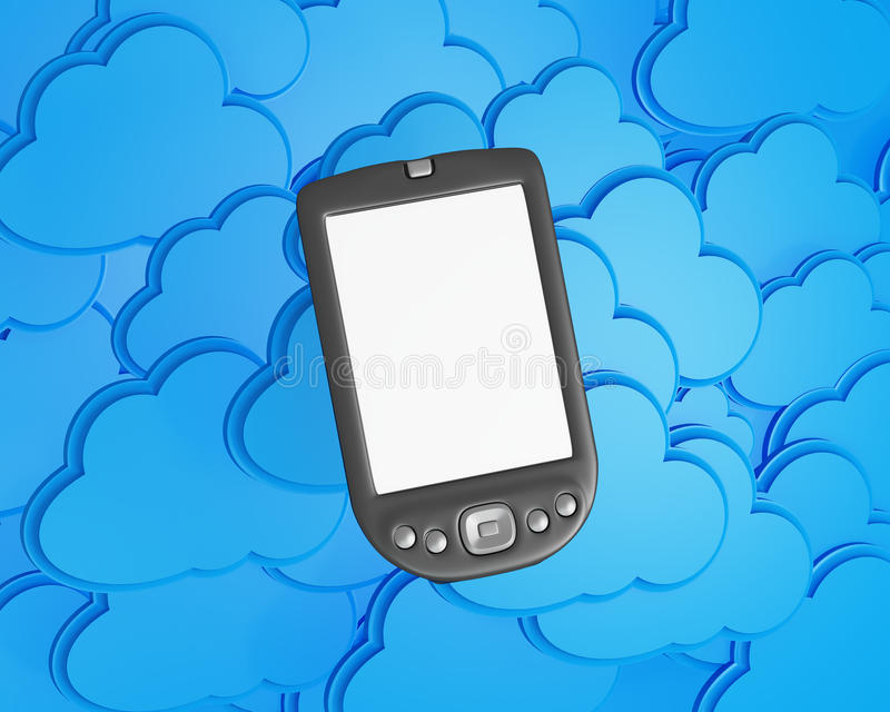3d mobile phone with clouds