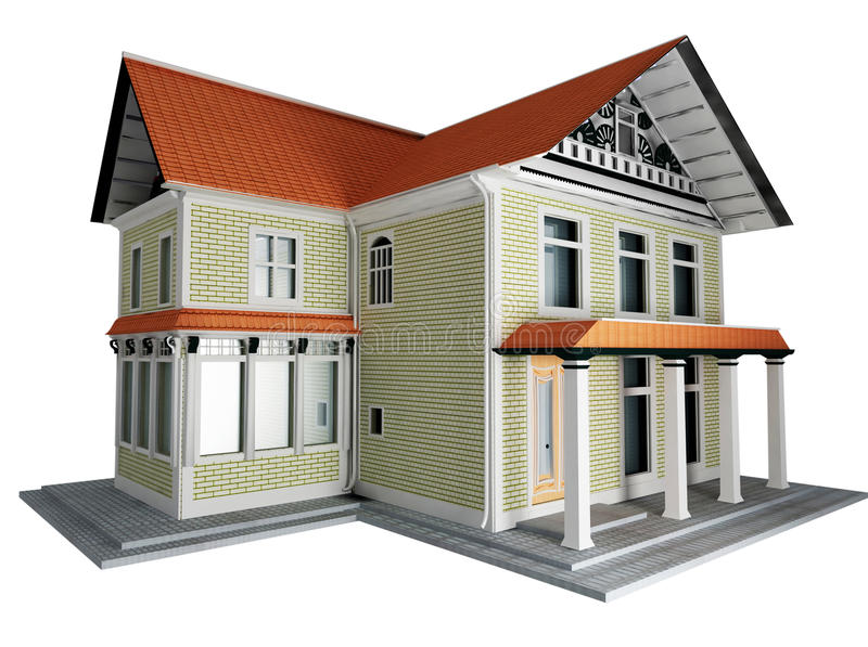 3d Model Of The Cottage Isolated Stock Photo