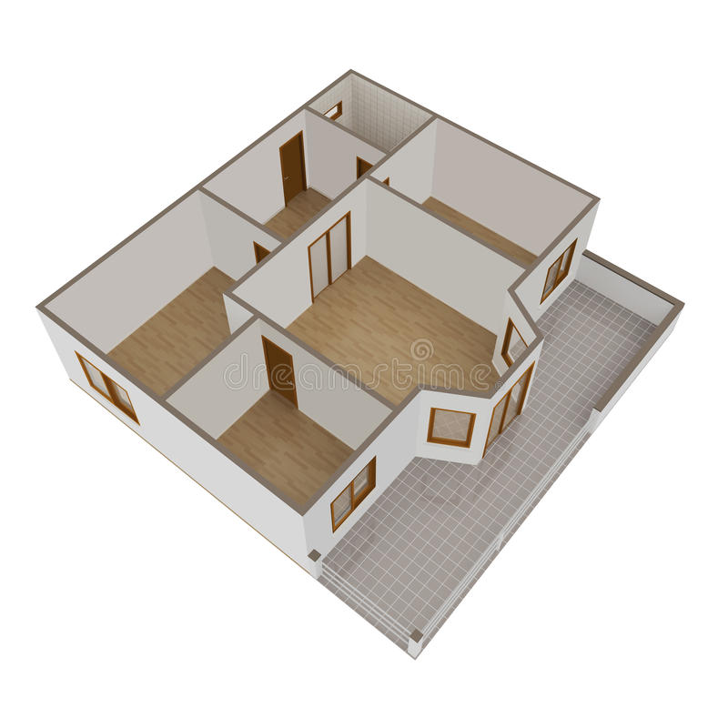 Download 3D Model Flat With Balcony Royalty Free Stock Image - Image: 24849456