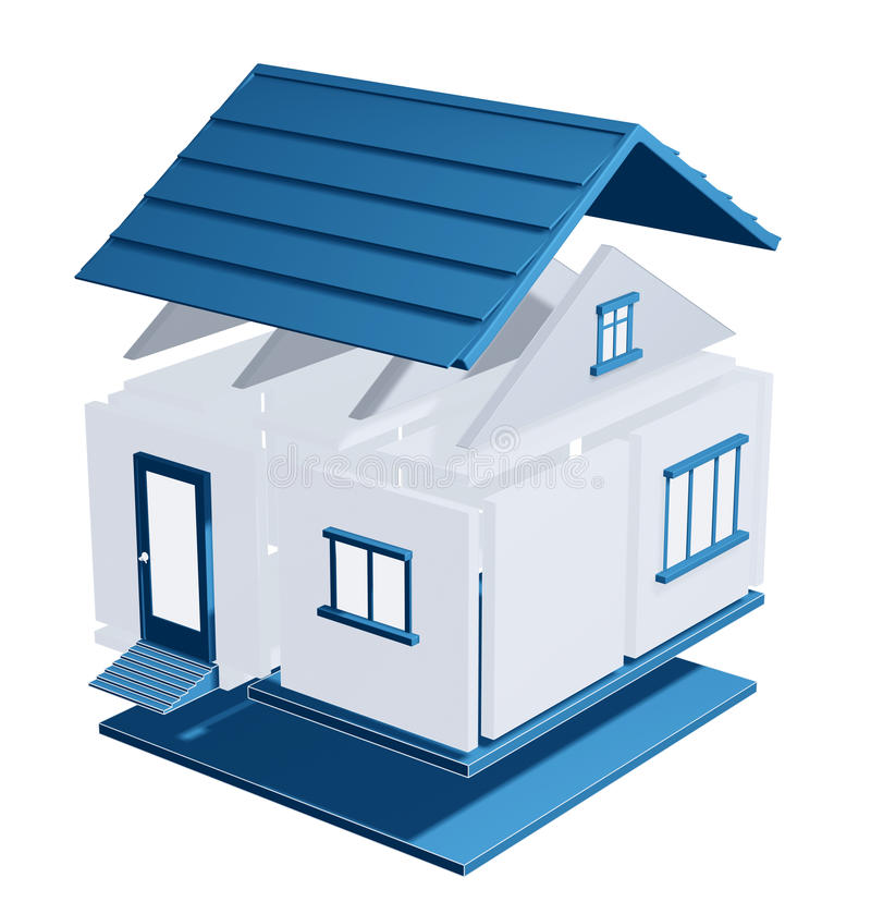 3d model of a house vector illustration